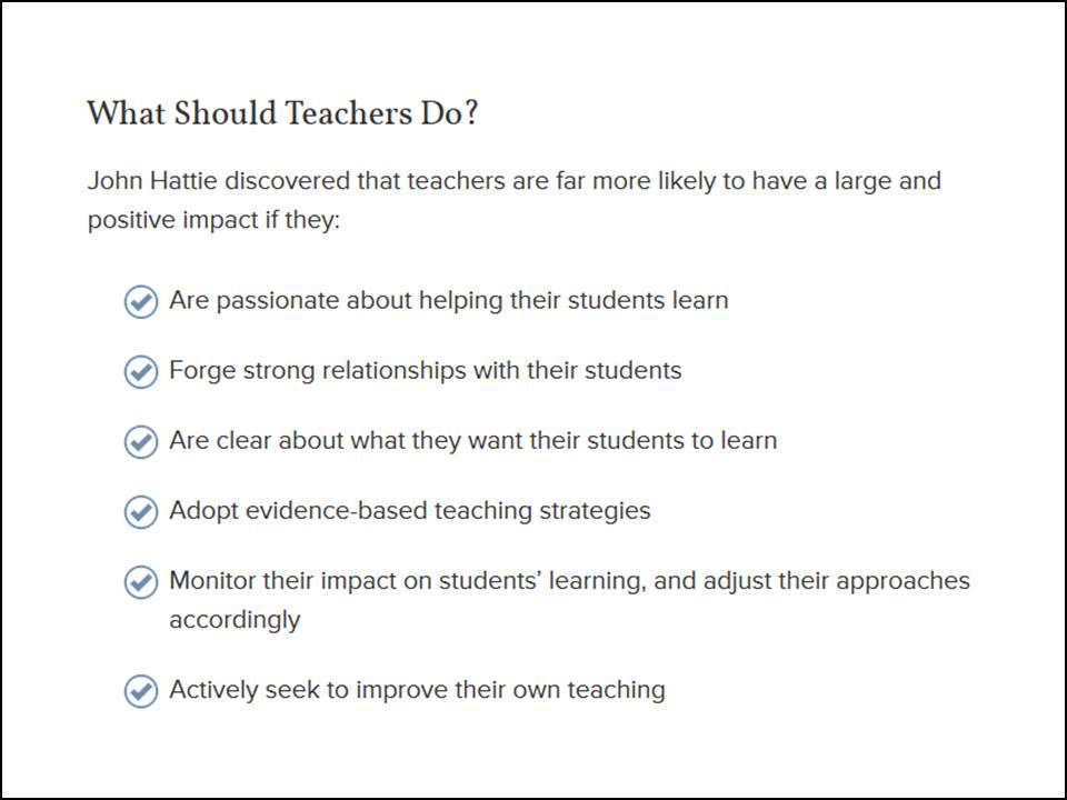 Hattie what should teachers do