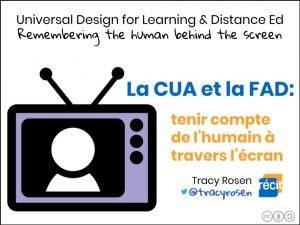 Image of person icon inside a television with text: Universal Design for Learning & Distance Ed Remembering the human behind the screen