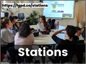 Image of teacher and a small group of students with text: Stations https://fgpd.ca/stations
